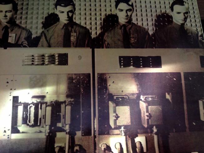 Kraftwerk: tirelessly forging the sounds of the future in one of their patented techno-urinals (Das Pissen-komputen, in German)