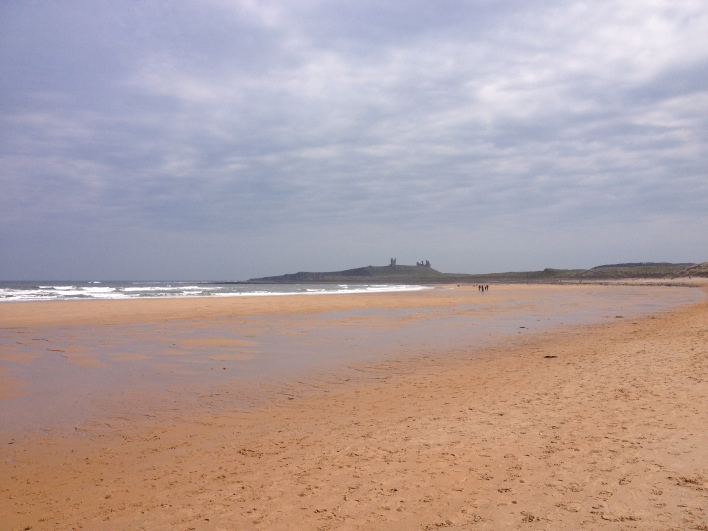 Dunstanburgh Castle in distance - 1537 in shorts, just out of shot
