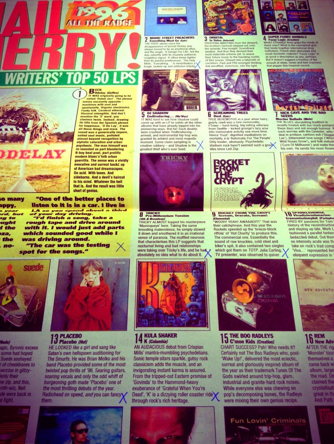 Officially the 14th best LP of 1996 according to NME - yes I'm that much of a moron/archivist that I kept stuff like this inside the LP.